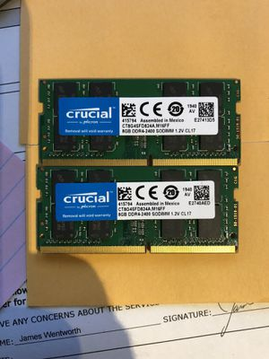 Crucial 16GB total ram (2 x 8 GB) PC4 SODIMM for Sale in Tempe, AZ