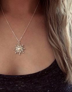 Sun Necklace, Sun Jewellery, Silver Sun Necklace, Sun Choker, Hippie Charm Necklace, Thank You Gift, Letterbox Gift, You're My Sunshine for Sale in Des Plaines,  IL