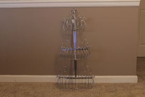 Decorative Chrome Wall-Mounted Deluxe 3-Tier Fruit Basket Storage Rack for Sale in Portland, OR