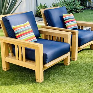 """Teak Club Chairs w Brand New Sunbrella 7"""" thick cushions / Patio / Outdoor / Hone & Garden / Furniture / Pillows NOT included for Sale in San Diego, CA"""