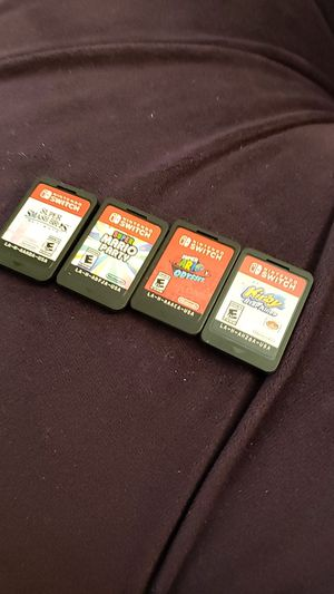 4 switch games - super smash, mario party, mario odyssey, kirby for Sale in Las Vegas, NV