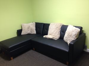 Sectional Faux Leather Sofa- Couch -Bed for Sale in Jackson, NJ