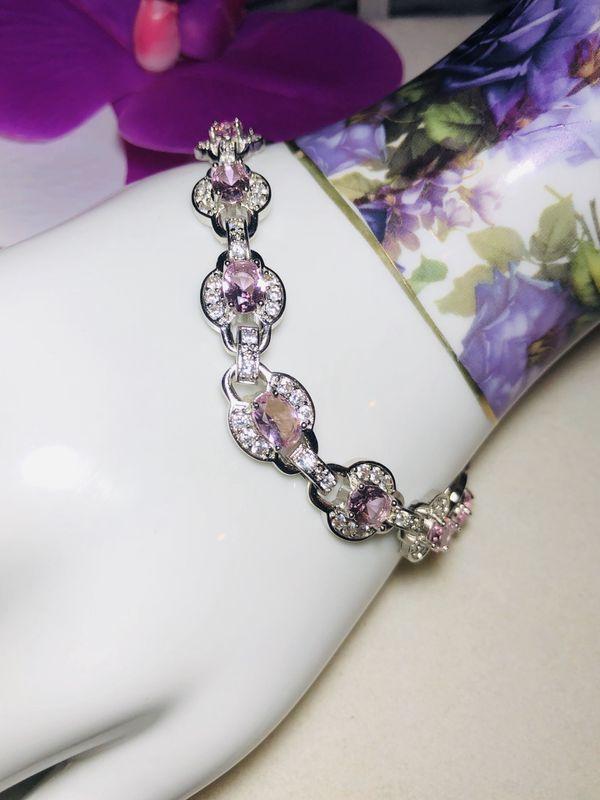 Sterling Silver.925 Pink Kunzite And CZ Bracelet.