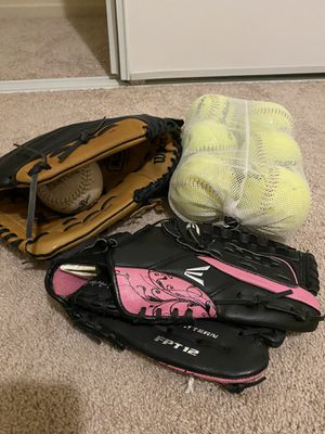 Wilson baseball glove 14 inch, Easton 13 in glove with 7 Softballs for Sale in Stockton, CA