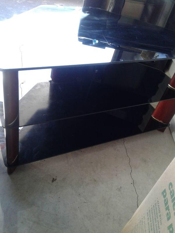 Cherry wood and glass tv stand