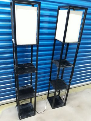 Black tall lamps with shelves for Sale in Glen Burnie, MD