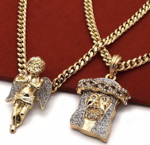 14K Gold Plated Iced Out Angel Jesus Necklace Set for Sale in El Cajon, CA