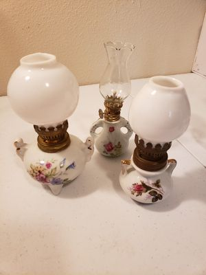 3 Double handle antique floral oil lamps for Sale in Gresham, OR