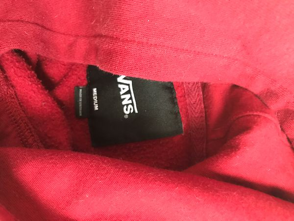 Red Vans hoodie, no firm on price tho