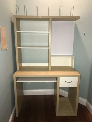 Two-tone Computer Desk with Hutch for Sale in Vacaville, CA