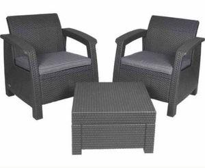 Keter Outdoor Patio Furniture Garden Balcony Gray Silla Mueble de Jardín Balcon Terraza 3 piezas for Sale in Miami, FL