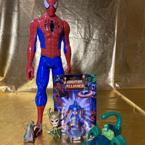 "Marvel Bundle Toys Includes 11"" Spider-Man Action Figure, Captain America, Vintage 1995 Mac Gargan And More for Sale in San Antonio, TX"