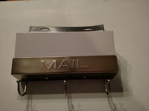 Threshold mail Holder with key hooks white and Satin Nickel for Sale in Arlington, WA