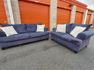 Sofa Set Blue Color - Couch + LoveSeat in GREAT CONDITION - DELIVERY NEGOTIABLE for Sale in Boca Raton, FL