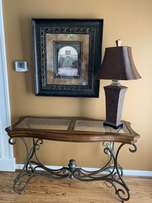 Wood, glass and oil rubbed bronze sofa/console table. for Sale in Manchester, MO