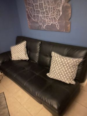 Black leather futon for Sale in Oceanside, CA