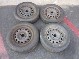 14 inch 4 lug steel rims, 4x100mm roller tires for Sale in Montebello, CA