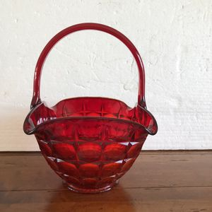 Ruby red square glass basket vase bowl - decorative & full of energy at any place or ocassion for Sale in Hialeah, FL