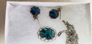 Silver abalone necklace and earrings for Sale in Auburndale, FL