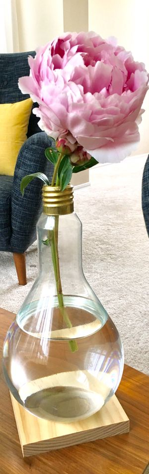 Giant eco friendly repurposed light bulb vase, upcycle flower vase, glass bud vase, upcycle home decor (not including the flower) for Sale in Everett, WA