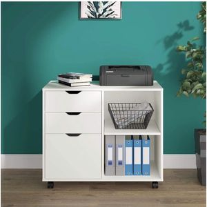 DEVAISE 3-Drawer Wood File Cabinet, Mobile Lateral Filing Cabinet, Printer Stand with Open Storage Shelves for Home Office, White for Sale in Whittier, CA