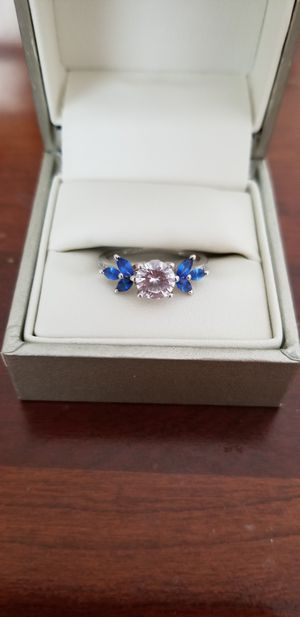 CZ sterling silver promise ring with blue rhinestones size 6 for Sale in Harrisonburg, VA