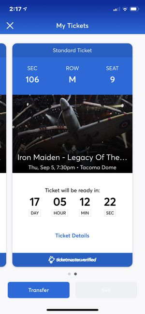 Two Iron Maiden Tickets for Sale in Port Orchard, WA