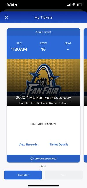 Two tickets to the nhl fan fair for Sale in Arnold, MO