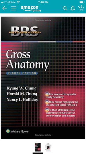 BRS Gross Anatomy USMLE step 1 for Sale in Houston, TX