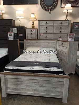 4 PC Bedroom Set (Queen Bed, Dresser Mirror and Nightstand), Whitewash, SKU# ASHB267-4QTC for Sale in Santa Fe Springs, CA