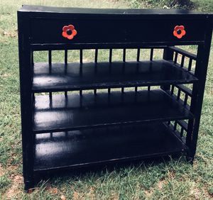 DISTRESSED & RESTORED VINTAGE CONSOLE TABLE W/ DRAWER AND 3 SHELF SPACE (BLACK W/ NEW RED PULLS ) 🌺 for Sale in Richmond, VA
