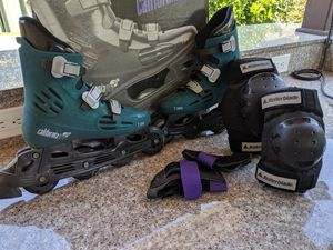 Women's California Pro Roller Blades Size 8 with Safety Gear for Sale in San Jose, CA
