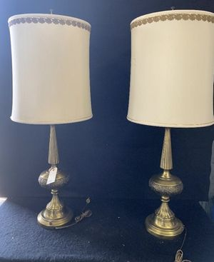 """Pair of antique Heavy Brass Lamps Detail Shades & Base size 41"""" Tall 16 wide for Sale in Westminster, CA"""