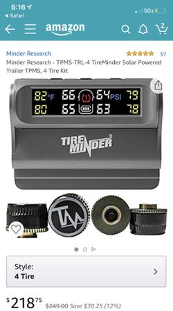 TireMinder Solar Powered Trailer Tire Pressure Monitoring System , 4 Tire Kit for Sale in Fontana,  CA