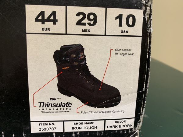 Men's steel toed work boots size 10