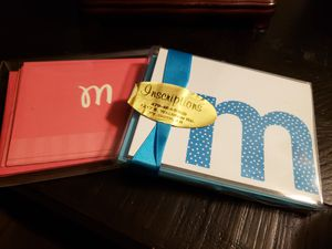 """Combo deal! Set of 15 monogrammed """"M"""" blank cards for Sale in Fort Smith, AR"""