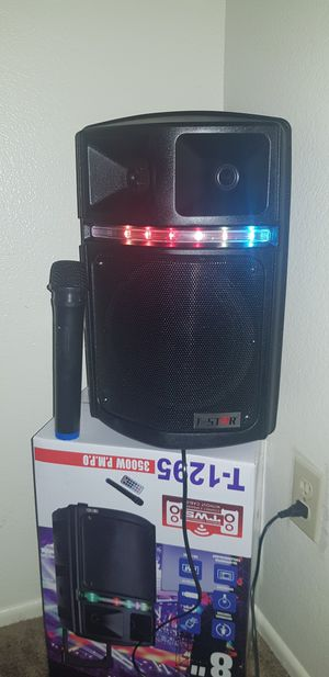 T star speaker. Batter and charged indicator, memory card slot, FM radio, LED lights, AUX in. Bluetooth, for Sale in Phoenix, AZ