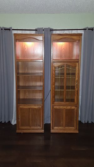 Entertainment center side shelving with lighting for Sale in Fort Worth, TX