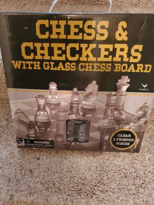 Glass Checker and Chess board with all pcs for Sale in Murfreesboro, TN