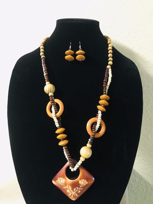 Wood necklace with earrings for Sale in Lincoln, NE