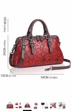 APHISON 12 Women Genuine Leather Handbag Large Capacity Tote Bags Embossed Design Shoulder Bag For Ladies for Sale in Florissant, MO