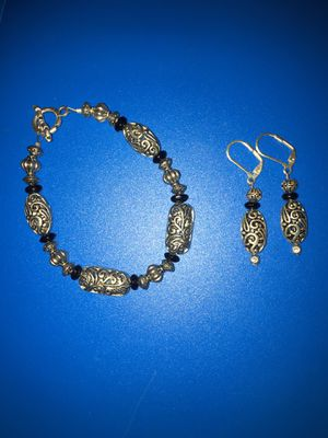 Black and silver - Bracelet and Earrings set - Perfect for Valentines Day for Sale in Lewisburg, PA