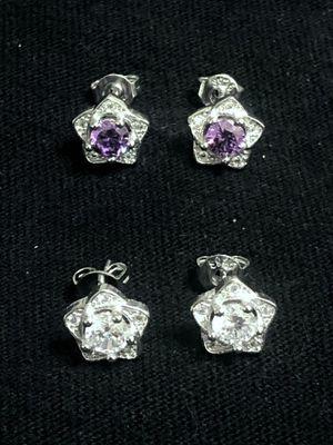 Sterling Silver CZ/ Flower Earrings for Sale in Las Vegas, NV