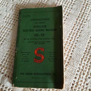 Vintage Singer Model 66-16 Instruction Book for Sale in Bonney Lake, WA