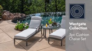 3 piece cushion chaise lounge set outdoor patio furniture for Sale in Chula Vista, CA