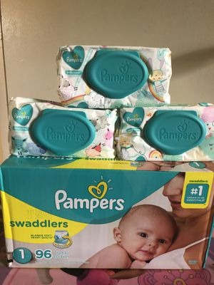 Pampers swaddlers size 1 (96 DIAPERS + 168 WIPES)- -$25 FOR ALL !! for Sale in Riverdale, GA