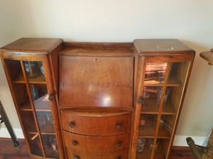 Vintage antique metal desk with glass doors and wood Shelf for Sale in San Jose, CA