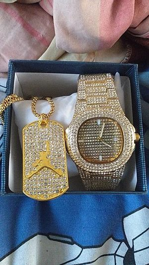 Iced Out Chain and watch for Sale in Oakton, VA