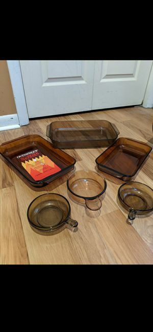 Assorted Brown/Amber Glass Cookware for Sale in Bardonia, NY
