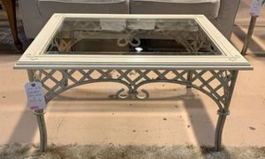 Off-White Cast Iron Coffee Table w Glass Too for Sale in Lehighton, PA